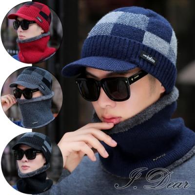 I.Dear-男女拚色格紋加絨針織鴨舌帽毛線帽圍脖兩件套組(4色)