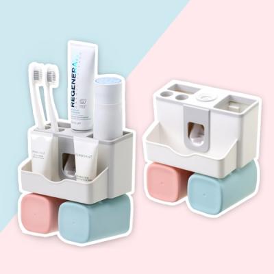 E-dot 免釘鑽擠牙膏牙刷架(雙杯款)