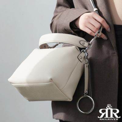2R 頭層牛皮Ladies環釦背帶斜背名媛包 雅米白