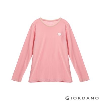 GIORDANO 女裝Natural刺繡長袖圓領T恤 - 09 玫瑰粉