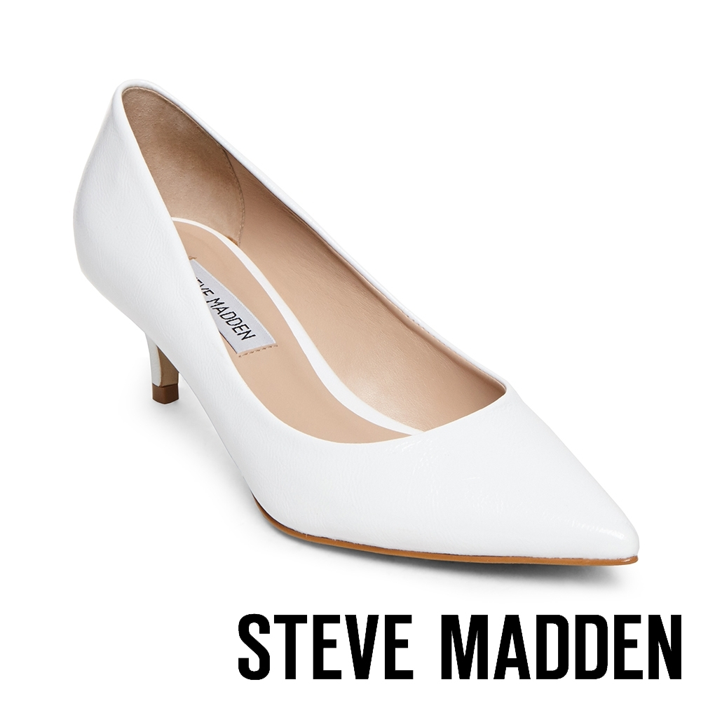 STEVE MADDEN-SABRINAH 素面尖頭中跟鞋-白色