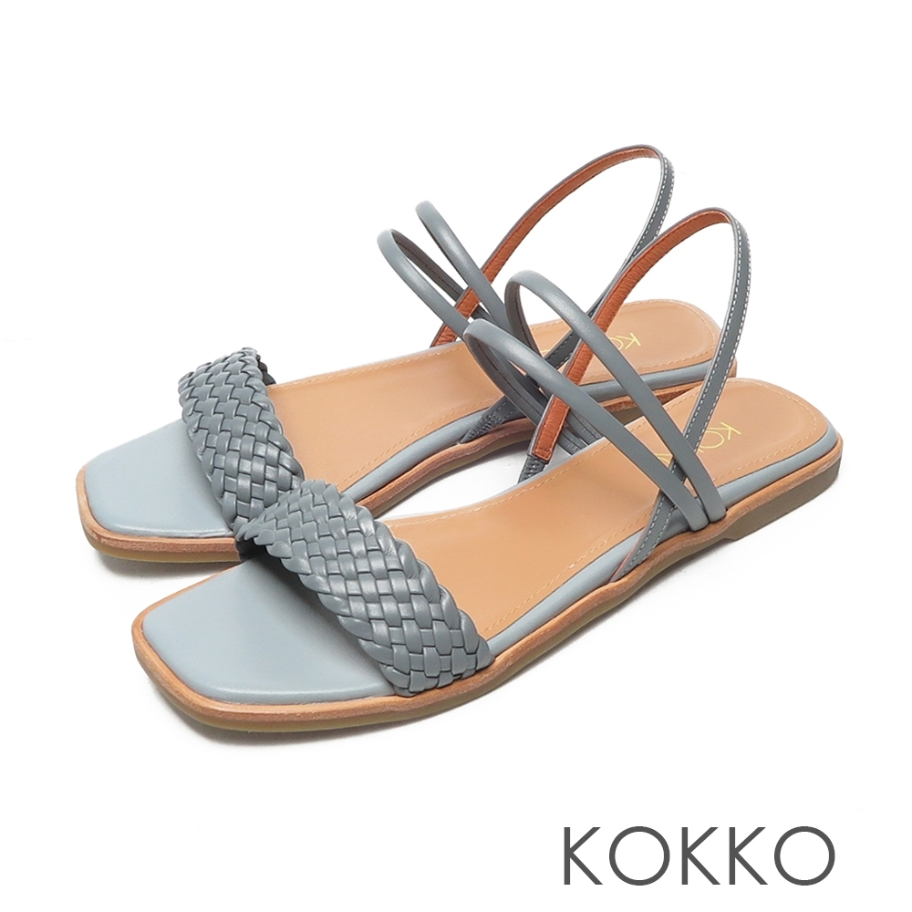 KOKKO時髦方頭一字帶編織小牛皮平底涼拖鞋法式藍