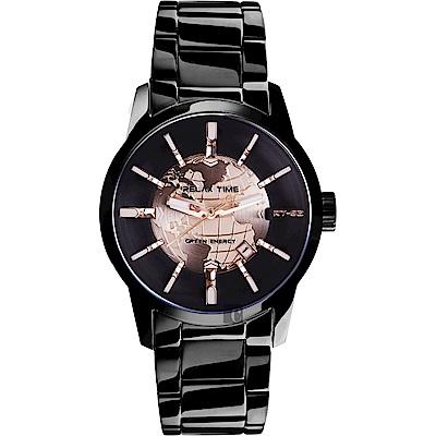 RELAX TIME RT62系列 人動電能地球腕錶-玫塊金x黑/45mm