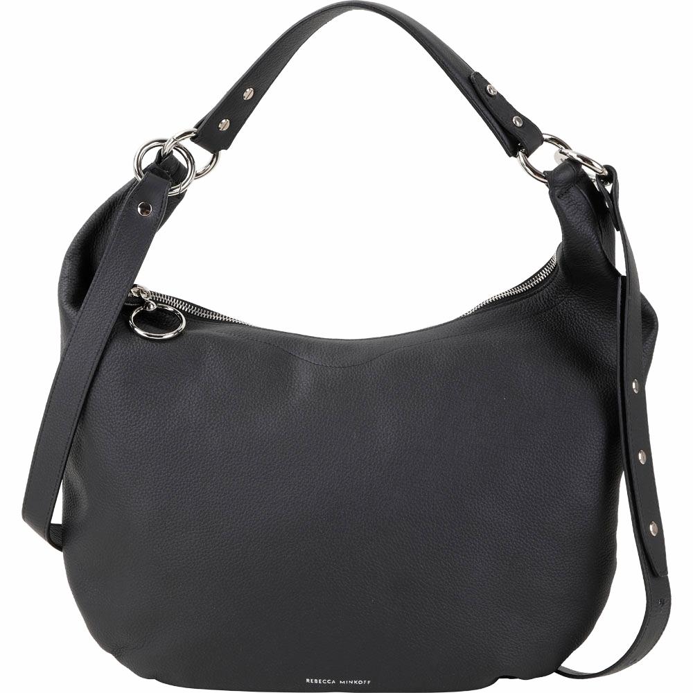 Rebecca Minkoff Michelle Hobo 皮革肩背/手提兩用包(黑色)