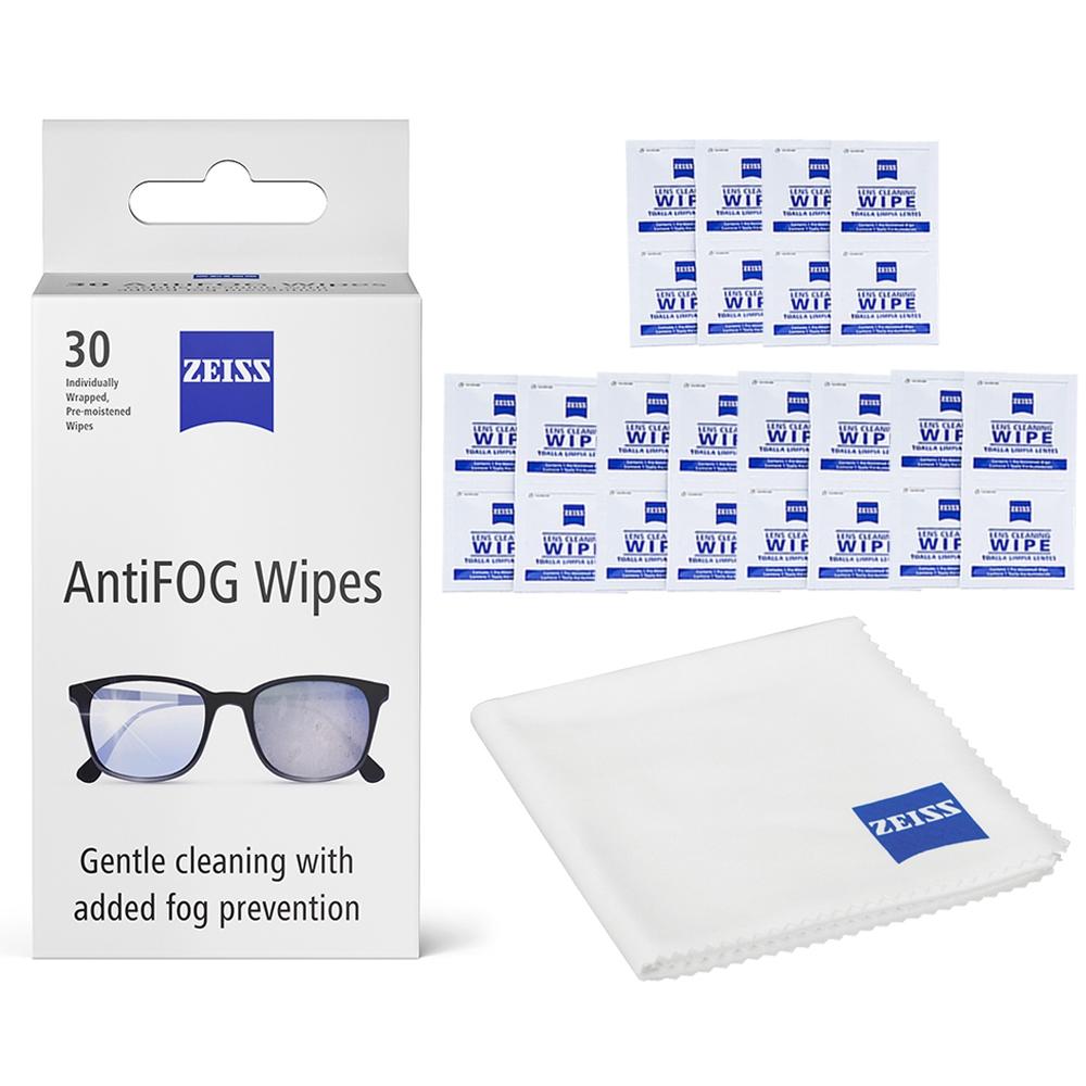 蔡司 Zeiss AntiFog Wipes 專業光學清潔防霧拭鏡紙 30張 + 拭鏡布 + 抗菌拭鏡紙 50張