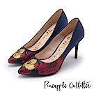 Pineapple Outfitter 高貴名伶 鞋頭花卉緞布尖頭細高跟鞋-深藍