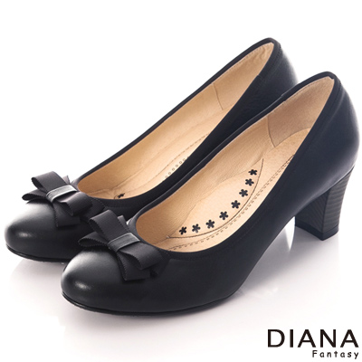 DIANA 超厚切花朵款~蝴蝶結織帶滾邊真皮跟鞋-黑