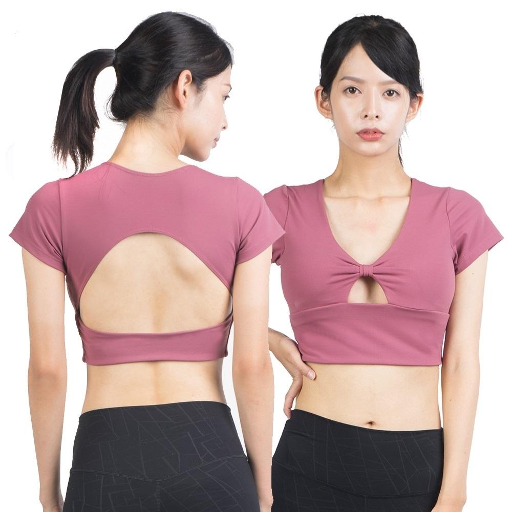 運動內衣 小復古V領性感甜美短版上衣含胸墊-2色 LOTUS