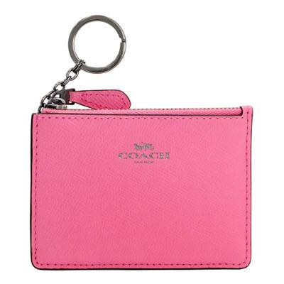COACH螢光粉紅防刮皮革後卡夾鑰匙零錢包