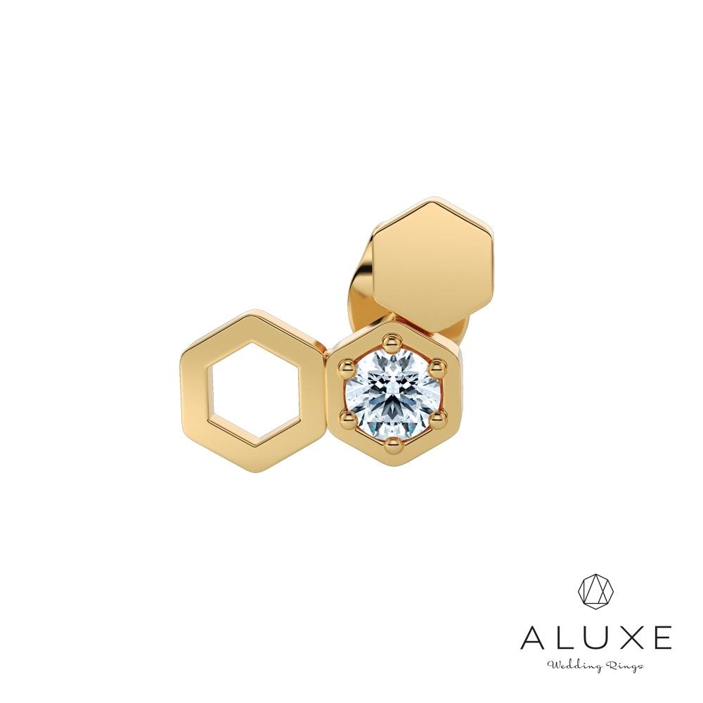 ALUXE亞立詩 小熊維尼 The Bee系列10K鑽石耳環(單只)