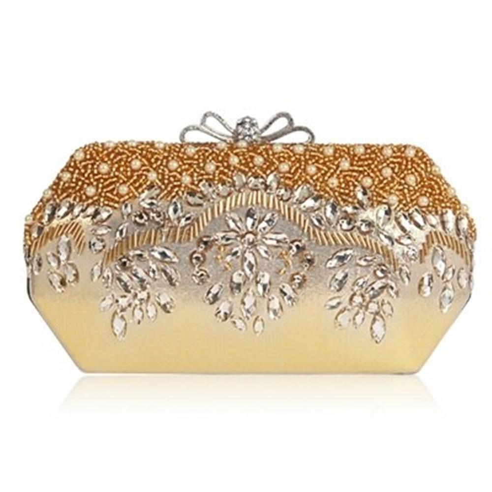 米蘭精品 晚宴包鏈條手拿包-水晶鑽珍珠綢面蝴蝶結女包情人節生日禮物73rk30