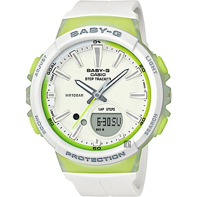 CASIO 卡西歐 Baby-G 慢跑計步手錶-白x檸檬綠(BGS-100-7A2)