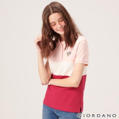 GIORDANO 女裝粉紅拼接刺繡彈力萊卡POLO衫-01 草莓粉/雪白/櫻桃紅
