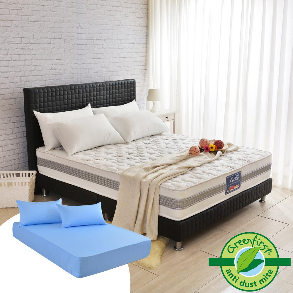 (618特惠組)LooCa 法國防蹣+防蚊+護框護背硬式獨立筒床墊-加大6尺