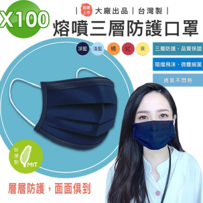 台灣製 熔噴三層口罩(100入)-多色可選