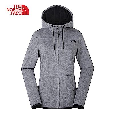 The North Face北面女款銀灰色吸濕排汗針織連帽外套|3V4AKS7