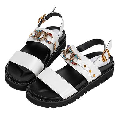 Robinlo 金屬感璀璨寶石牛皮涼鞋 白色