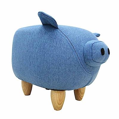 CLORIS 嘟嘟豬超萌動物造型椅/沙發矮凳/四腳椅(藍色)