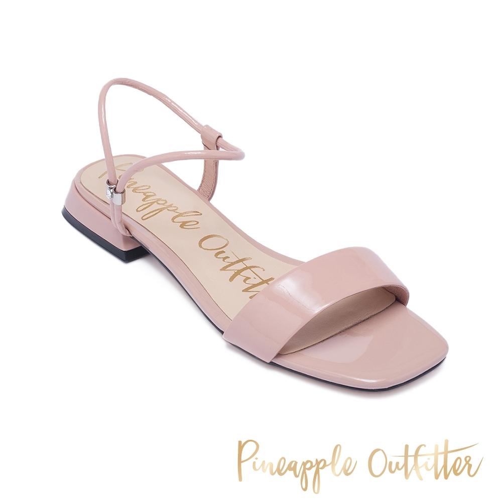Pineapple Outfitter 夏日繽紛一字帶方頭低跟涼鞋-鏡粉色