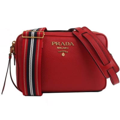 PRADA 經典浮雕LOGO雙背帶小牛皮肩/斜背兩用包(紅色)
