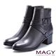 MAGY 紐約時尚步調 交叉皮帶牛皮粗跟短靴-黑色 product thumbnail 1