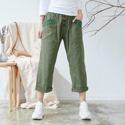 慢 生活 袋蕾絲拼接腰際鬆緊直筒褲- 綠色