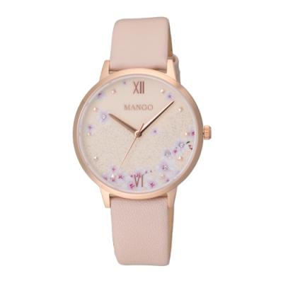MANGO 星願花語氣質腕錶-杏色(MA6757L-RG)36mm