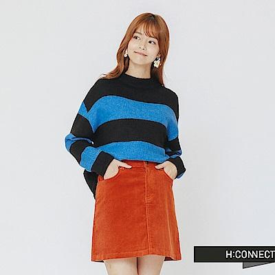 H:CONNECT 韓國品牌 女裝-寬條配色針織上衣-藍
