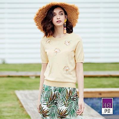ILEY伊蕾 木棉花刺繡針織上衣(米/綠)