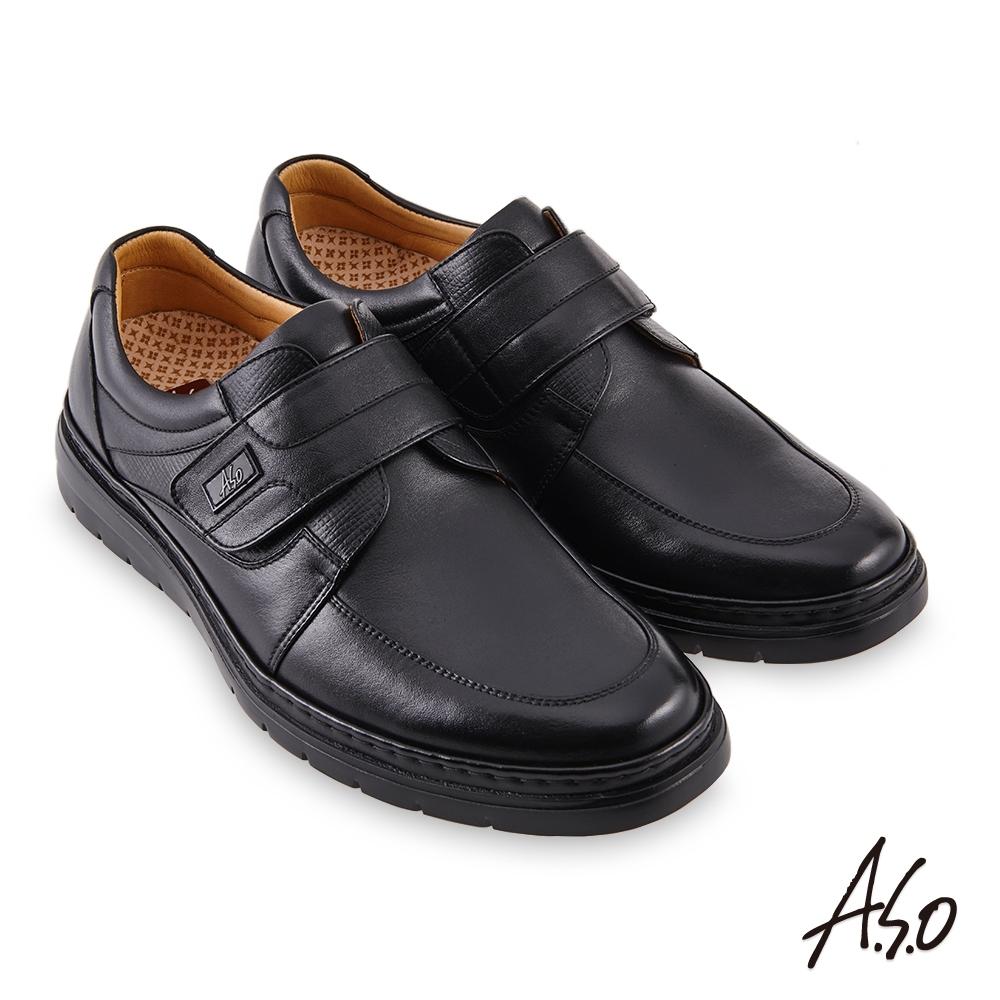 A.S.O 機能休閒勁步健康魔鬼氈商務休閒鞋-黑