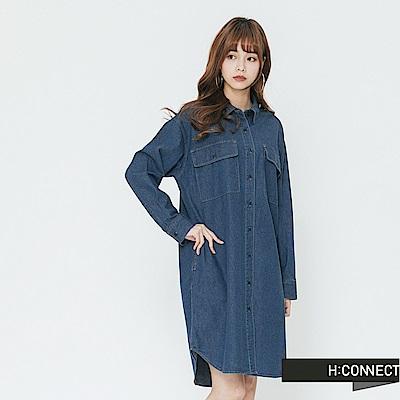 H:CONNECT 韓國品牌 女裝-雙口袋牛仔襯衫洋裝-藍