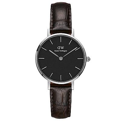 DW Daniel Wellington 時尚約克深棕色壓紋皮帶石英腕錶-銀框/28mm