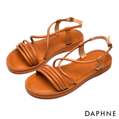 達芙妮DAPHNE 涼鞋-純色條帶繞踝縷空平底涼鞋-棕