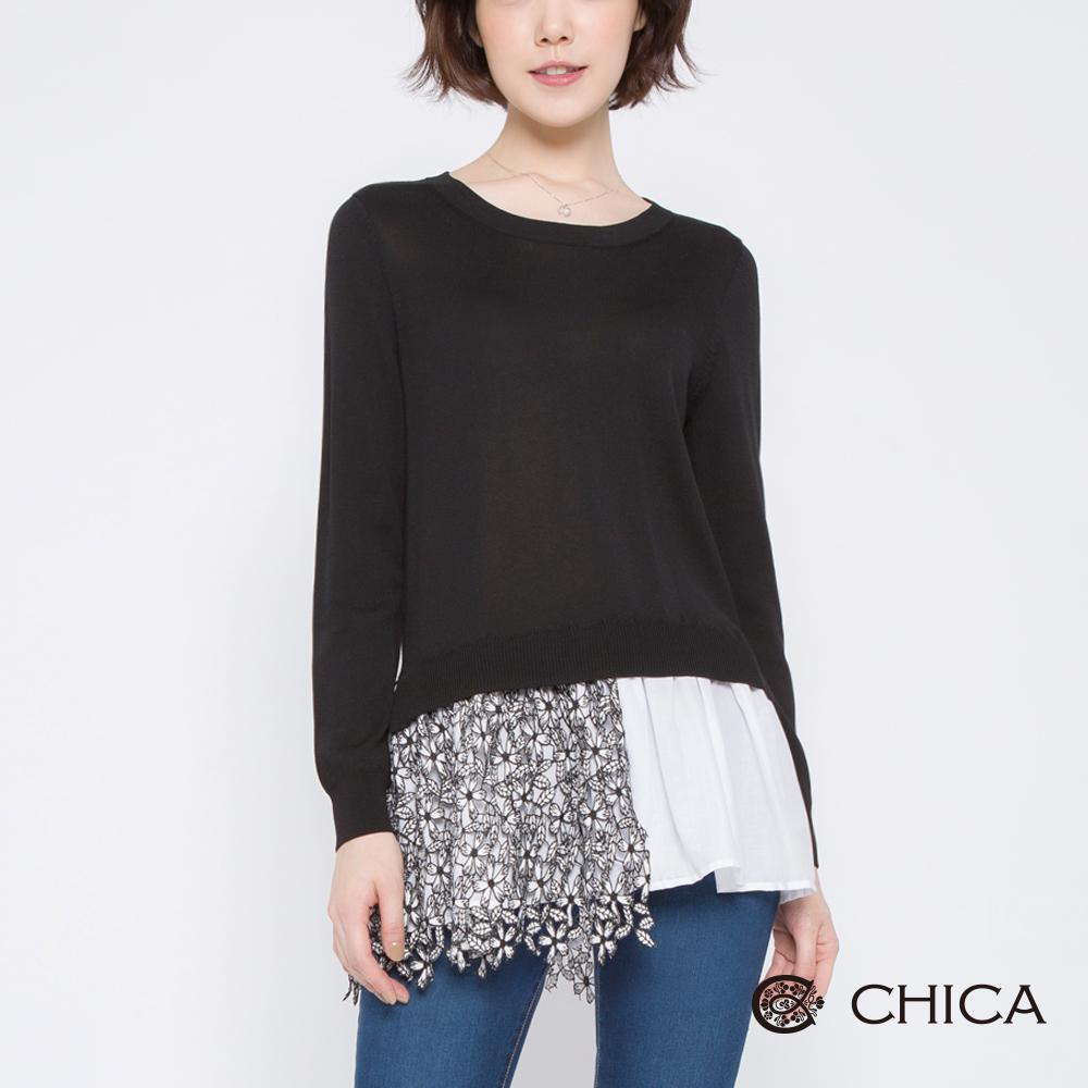 CHICA 好感氣質拼接花藝蕾絲針織衫(2色)