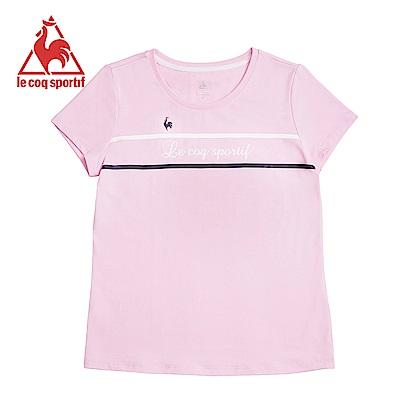 le coq sportif 法國公雞牌草寫字母條紋短袖T恤 女-灰粉
