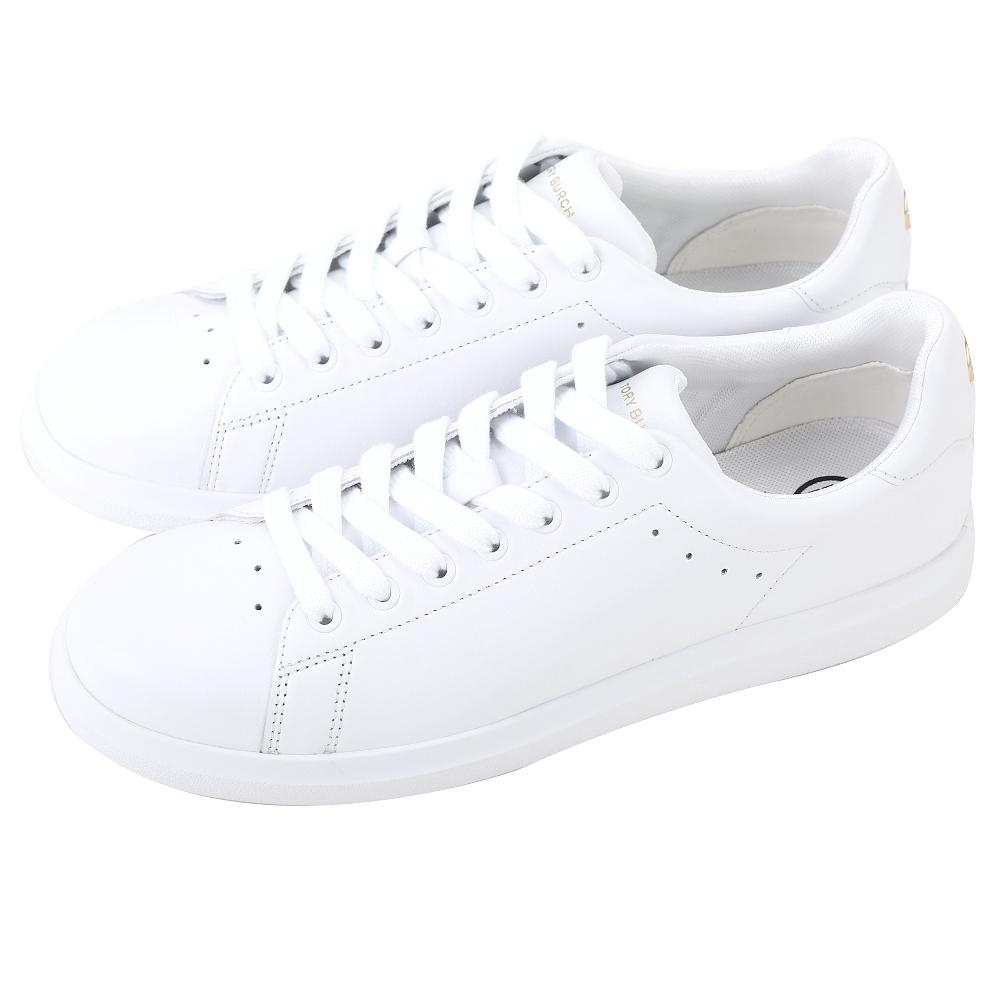 TORY BURCH Howell 雙T金屬標誌小牛皮繫帶運動鞋(白色)