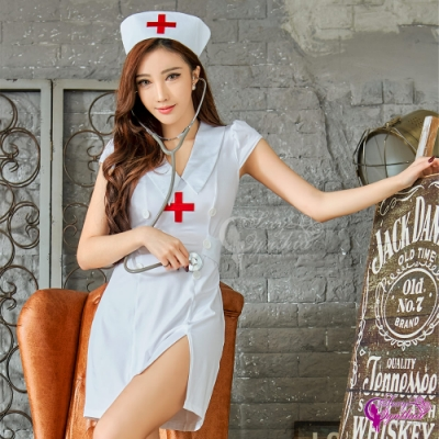Sexy Cynthia 角色扮演 俏皮護士開衩三件式連身裙角色服-白F