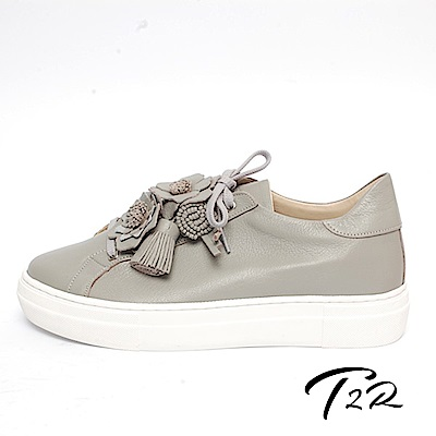 【T2R】全真皮手作花朵造型綁帶隱形內增高鞋-增高5公分-灰