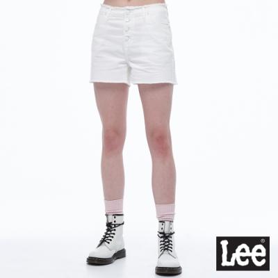 Lee 抽鬚邊前排扣中腰牛仔短褲  女 白色