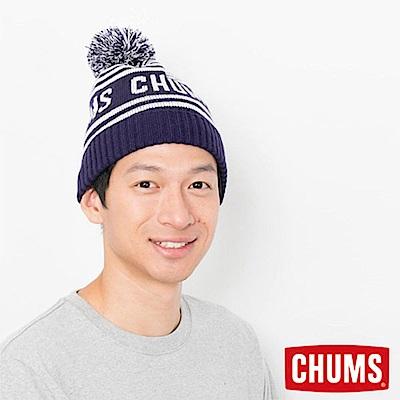 CHUMS 日本 大Logo 保暖毛帽 藍色條紋