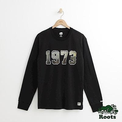 Roots 男裝-73風景長袖T恤-黑色
