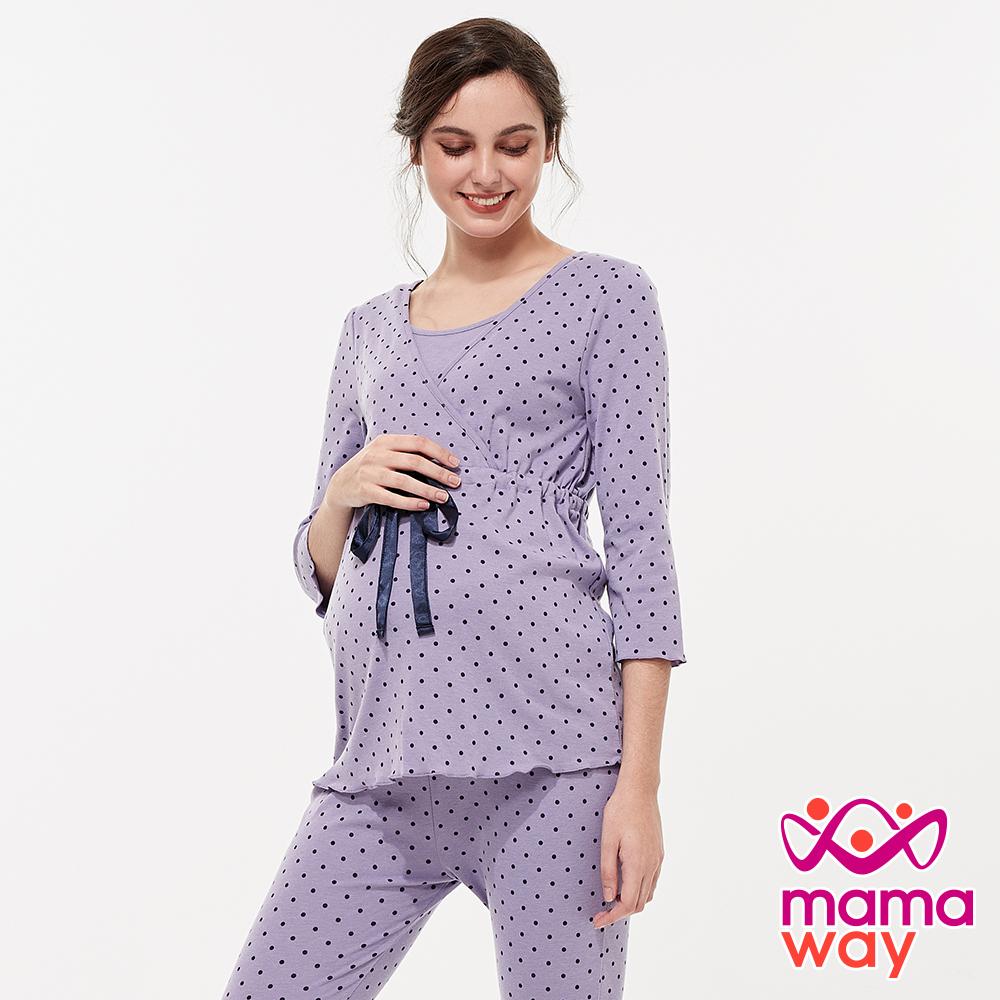 mamaway媽媽餵 素雅印點綁帶孕哺居家服組(七分袖+七分褲) 共2色