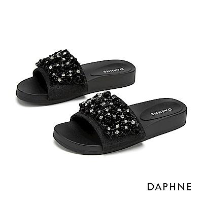 達芙妮DAPHNE 涼鞋-閃耀串珠舒適平底拖鞋-黑色
