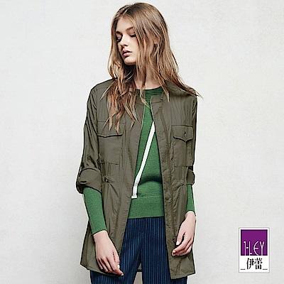 ILEY伊蕾 率性簡約百搭長版外套(綠)