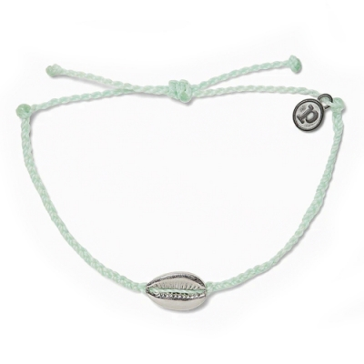 Pura Vida 美國手工 COWRIE CHARM 銀色貝殼 淺綠色蠟線衝浪手鍊手環