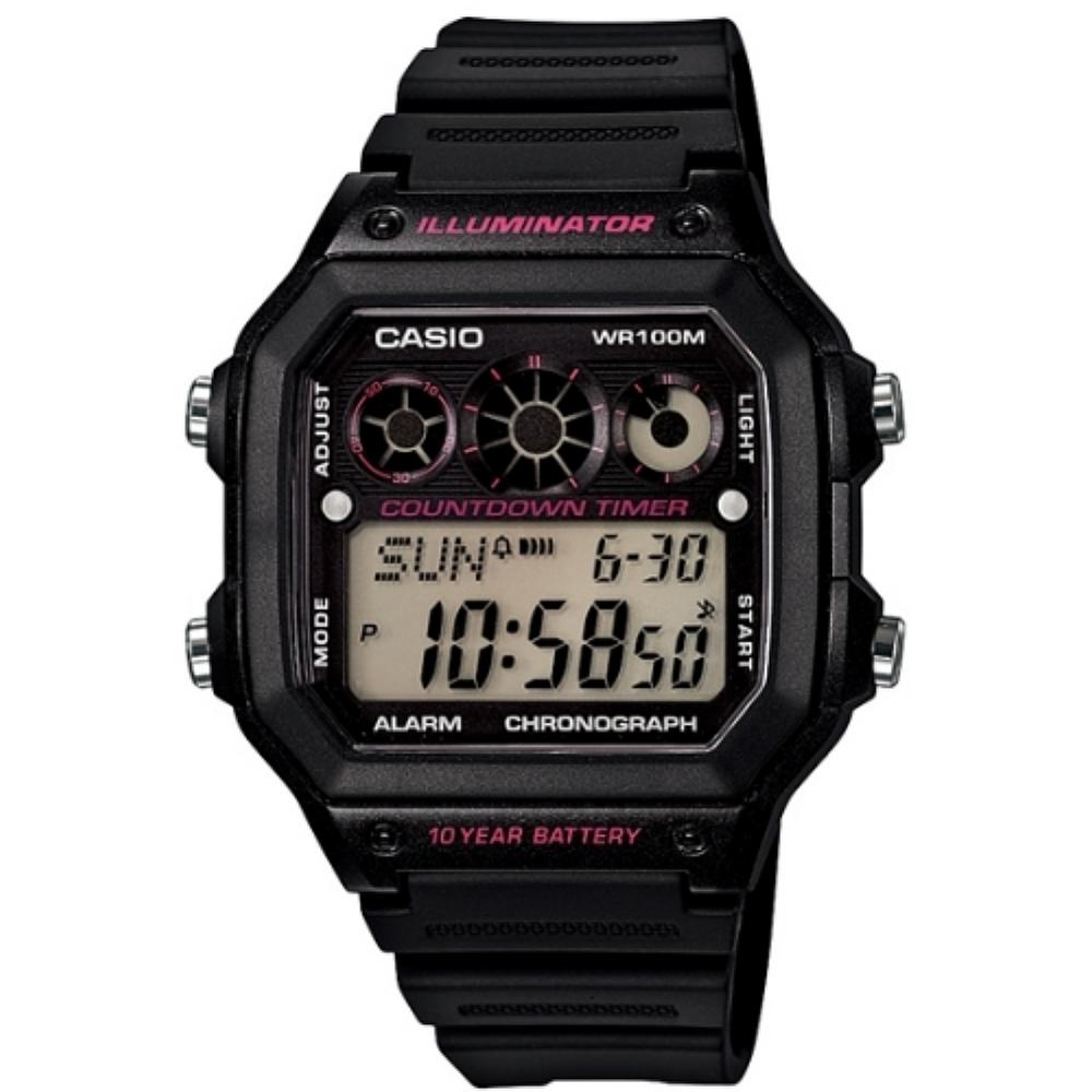 CASIO 雷神戰士個性運動電子錶-黑x桃紅圈(AE-1300WH-1A2)/31mm
