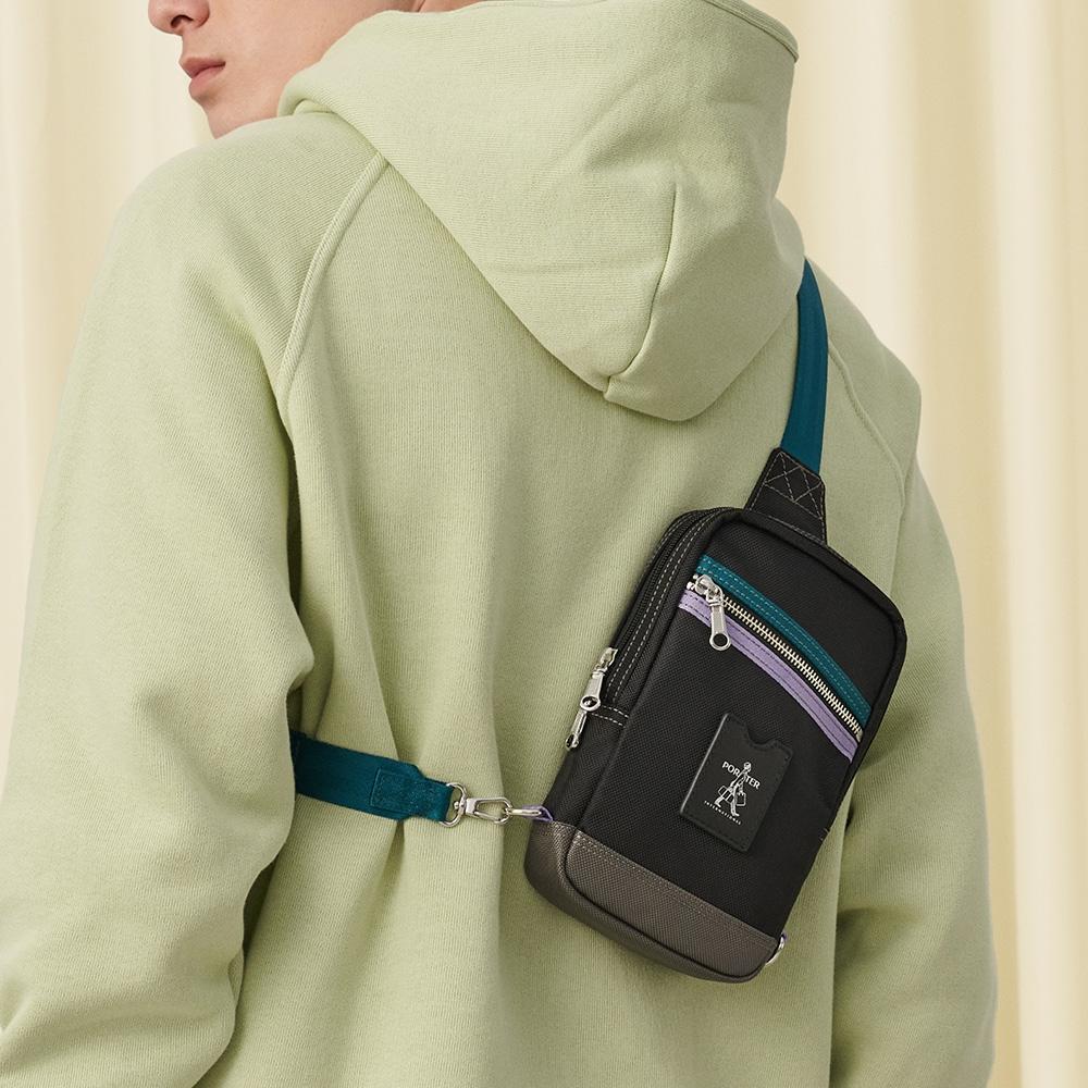 PORTER - 搶眼美學LUXY簡約時尚單肩包 - 藍配紫