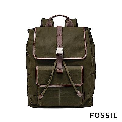 FOSSIL BUCKNER帆布背包 (可裝15吋筆電)- 墨綠色