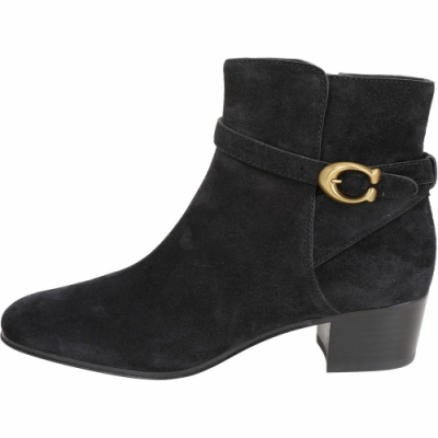 COACH CHRYSTIE C Logo 黃銅釦黑色麂皮粗跟短靴