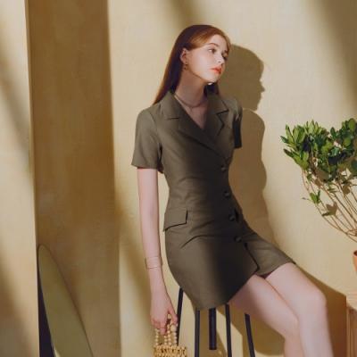 AIR SPACE LADY 韓系翻領排釦棉麻洋裝(灰綠)